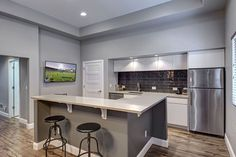 Newcastle-Basement-Wet-Bar home decor. Decor, Blue Kitchens, Bars For Home, Kitchen On A Budget, Home, Wet Bar Basement, Modern Kitchen, Finishing Basement, Home Decor