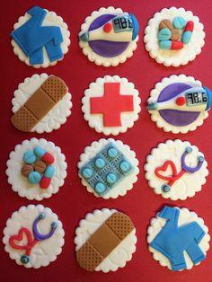 12 Medical Cupcake Toppers - Healthcare - Fondant - Nurse - Doctor - Nursing - Hospital - Bandaid - Scrubs -Edible - Fondant by FondantandFrosting on Etsy https://www.etsy.com/listing/217435349/12-medical-cupcake-toppers-healthcare