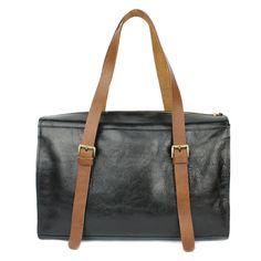 BLACK LEATHER handbag holdall weekend bag by NatalyaAlexander