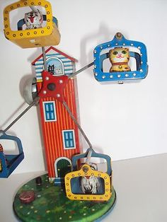 Vtg 1950's SY Tin Litho Wind Up Toy Cat Dog Ferris Wheel w Bell Japan