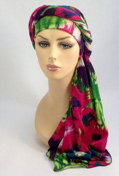 983740e1cc3 Purple Green Hot Pink Turban Chemo Hat Head Wrap by TurbanDiva Head Wrap  Scarf