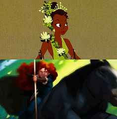 Ooo, I like the early design of Tiana's clothes. All those pretty flowers! And the style they drew Merida in is very interesting. :)