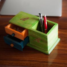 Multicoloured Wooden Parrot Table Organiser | #simple #Decor #DeskAccessories #simple, #Decor, #DeskAccessories,