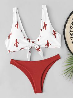 Random Cactus Print Tie Front Bikini Set Bathing Suits for These Will Be the 11 Most Popular Swimsuit Trends of 2019 Mode Du Bikini, Summer Outfits, Cute Outfits, Bikini Ready, Bikini Outfits, Cute Bathing Suits, Swimming Costume, Beachwear For Women, Beachwear Fashion