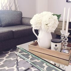 OBSESSED with my new coffee table! #ourownmapledrive #turningourglamhomeintoafamhome #newhouse