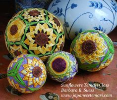 Japanese Temari: Sunflowers Class Schedule and Book Update Sewn Christmas Ornaments, Quilted Ornaments, Japanese Symbol, Japanese Art, Temari Patterns, Class Schedule, Cork Crafts, New Hobbies, Origami Paper