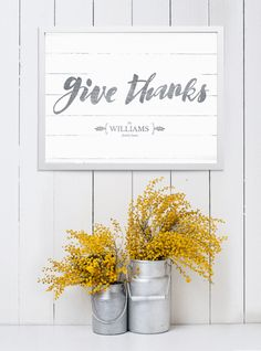 shiplap wall with fall decorations and the Give Thanks personalized print.