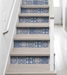 Fake cement tile riser decals - adhesive for stair rise fake cement tile design - riser stickers with fake blue cement tile - adhesive stair riser decals