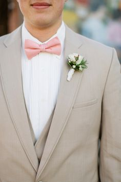 We <3 pink bowties. Tan 'Allure Men' Tuxedo at the Farm + Factory Southern Styled Shoot from Gather Together | gathertogetherevents.com, Photography by blog.sarahderphotography.com, Read more - http://www.stylemepretty.com/2013/06/19/farm-factory-southern-styled-shoot-from-sarah-der-gather-together/