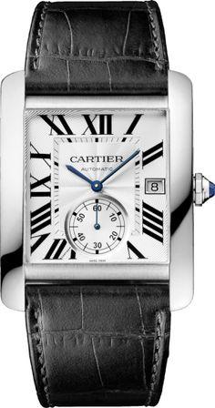 Cartier Men's Tank MC Analog Display Automatic Self Wind Black Watch Cartier Santos, Cool Watches, Watches For Men, Men's Watches, Wrist Watches, Cartier Watches Men, Cartier Rings, Jewelry Watches, Cartier Tank Mc