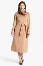 Cinzia Rocca Genuine Rabbit Fur Collar Wrap Coat