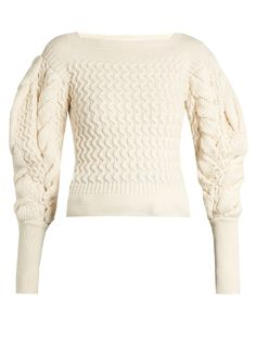 Lemaire Exaggerated sleeve cable-knit sweater