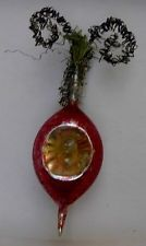 """ANTIQUE WIRE WRAPPED BLOWN GLASS CHRISTMAS ORNAMENT~DOUBLE INDENT~6-7"""""""