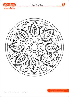 Coloring Mandala: The leaves Mandala Coloring Pages, Colouring Pages, Printable Coloring Pages, Adult Coloring Pages, Coloring Books, Embroidery Motifs, Embroidery Designs, Stencil, Mandala Art