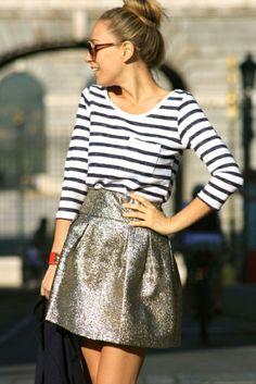 Stripes tee and mini golden skirt