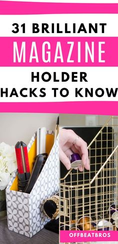 Try these organization ideas to organize with dollar store magazine holders. Use these organizing tricks to transform the way your home looks on a very low budget. These Magazine Holders are great to have around and they're perfect for organization.