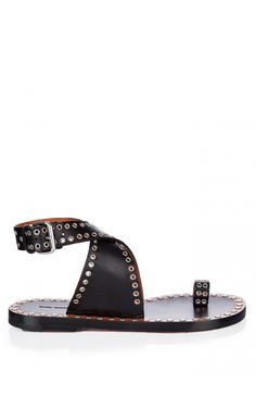 Isabel Marant Jools Eyelet-Embellished Leather Sandals Black - Isabel Marant