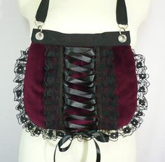 Burgundy and Black Gothic Corset Bag with Lace by estylissimo
