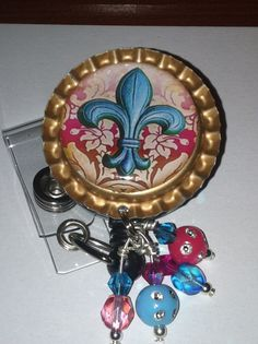 Fleur de lis Retractable ID badge Reel  fleur de lis by mccloy750, $10.00