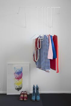 Beautiful coat hanger by Susanna Vento Diy Clothes Hangers, Diy Clothes Refashion, Clothes Storage, Hanger Rack, Coat Hanger, White Clothing Rack, Clothing Racks, Diy Summer Clothes, Love Store