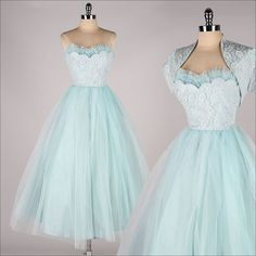 vintage 1950s dress . powder blue tulle . by millstreetvintage