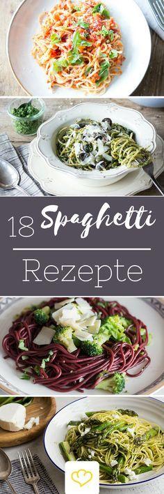 Aus unserer Küche ist die Spaghetti nicht mehr wegzudenken. Die 25 cm lange, dünne Nudel stammt, natürlich, aus Italien und hat sich von dort aus in der ganzen Welt verbreitet. Jede Familie hat ihre eigenen, persönlichen Lieblingsrezepte für die perfekte Spaghettikombination.  Wie du deine Spaghetti auch am liebsten isst, hier sind 18 spannende Rezepte für dein nächstes Pastavergnügen.