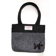 Beautiful handmade harris tweed charcoal grey scottie handbag £59.95