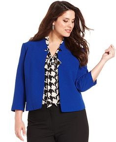 Tahari by ASL Plus Size Jacket, Three-Quarter-Sleeve Cropped - Plus Size Jackets & Blazers - Plus Sizes - Macy's