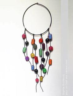 LA COUR - boutique-galerie de 70 créateurs métiers d'art à Pont-Scorff | accessoires.  Collier scoubidou - Sophie Duclercq #sophieduclercq #bijoux #jewelry