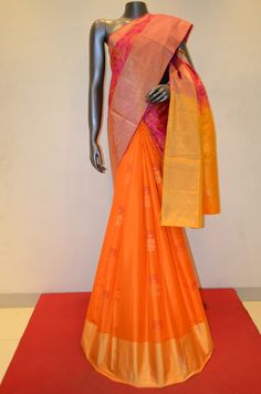 Pink and Orange Stylish Patli Pure Soft Silk Saree Product Code: AB211439 Online Shopping: http://www.janardhanasilk.com/index.php?route=product/product&search=AB211439&description=true&product_id=3847