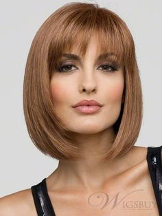 The Sporty Straight Shoulder Length Bob Light Auburn Wig : wigsbuy.com