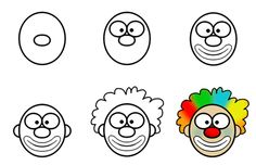 Drawing Cartoon - Learn to draw cartoon clowns that will make you laugh! This example will show you how to draw a funny clown easily. Art Drawings For Kids, Fish Drawings, Doodle Drawings, Drawing For Kids, Art For Kids, Drawing Cartoon Characters, Character Drawing, Cartoon Drawings, Drawing Lessons