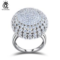 Orsa jewels 매력적인 백금 도금 218 개 2 미리메터 지르콘 전체 포장 라운드 모양의 빈티지 링 매우 아름다운 반지 or48