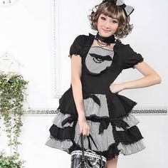 Black and White Stripe Gothic Lolita Day Dresses Headpieces Women SKU-11402243
