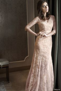 Orkalia fall 2014 couture champagne lace wedding dress with sleeves.