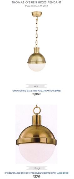 COPY CAT CHIC FIND: Circa Lighting Small Hicks Pendant VS Candelabra Restoration Warehouse Lambert Pendant