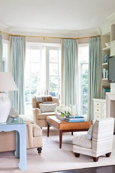 Bay window Curtains and pole. House of Turquoise: Anne Hepfer Designs Bay Window Curtains, Drapes And Blinds, Blue Drapes, Aqua Curtains, Drapery Panels, Long Curtains, Turquoise Curtains, Room Window, Coastal Curtains
