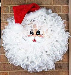 Handmade Santa Deco Mesh Wreath - Christmas Santa Wreath ...