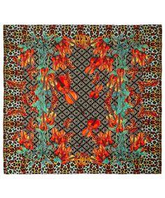 Hermione de Paula Orange Leopard Violin Flower Silk Scarf   Silk Scarves by…