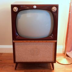 Retro VINTAGE TV SET //  Mid Century Modern Console Television Big Wooden Furniture Cabinet Made by Emerson in 1956  Atomic Style on Legs