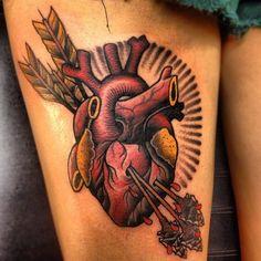 Resultado de imagem para real heart color tattoo