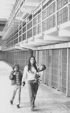 Eldy with Peter and Veruschka Bratt, MainCell Block during the Indian Occupation, 1969.  It's amazing to me how Eldy, my mom, Beryl, Justine, Lanada, Eleanor, Lou Trudell and others were brave enough to bring their children to the occupation.