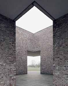 One of German artist Erwin Heerich's 11 pavilions for the Museum Insel Hombroich, both a park and museum combining architecture, art and nature over 62 acres of meadowland in Neuss, Germany. See more images on Brick Architecture, Contemporary Architecture, Architecture Details, Landscape Architecture, Interior Architecture, Monumental Architecture, Architecture Graphics, Interior Design, Brick Facade