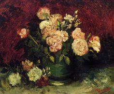 'bol con peonías y las rosas', óleo sobre lienzo de Vincent Van Gogh (1853-1890, Netherlands)