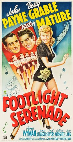 Footlight Serenade Century Fox, Three Sheet X pin-up sensation Betty - Available at 2013 November 16 - 17 Vintage. Classic Movie Posters, Movie Poster Art, Classic Movies, Fox Movies, Movie Tv, Film Musical, Cinema Posters, 1950s Posters, Star Wars