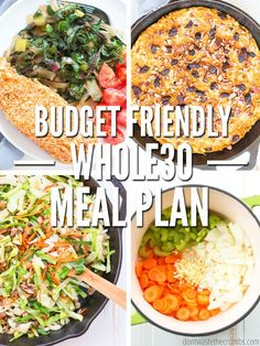 Whether youre on week 2 or week 4 if youre feeding 6 or need something for 1 this meal plan hits the spot. We cover breakfast offer the foods and a shopping list via pdf and you can even use it as a template for your own meal plans. Every recipe i Whole 30 Diet, Paleo Whole 30, 30 Day Whole 30 Meal Plan, Whole 30 Meals, Whole 30 Salads, Whole Foods Meal Plan, Whole 30 Snacks, Whole 30 Challenge, Whole 30 Lunch