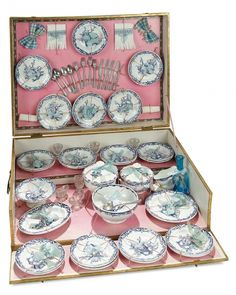 The Memory of All That - Marquis Antique Doll Auction: 25 Elaborate French Child's Dinner Service in Original Presentation Box