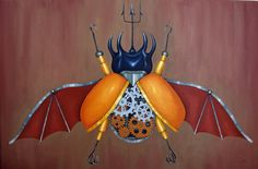 """Eupatorus tridentis infernalis"" Oil on canvas 40x60cm."