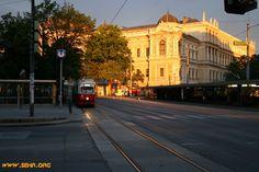 Ein paar Tage später scheint uns die Sonne sehr schön auf die Universität. Es ist 5.24 Uhr in der Früh, die Straßen sind leer und ermöglichen uns dieses wunderschöne Bild. (Photo: Stefan Schedl, 25.06.2007)