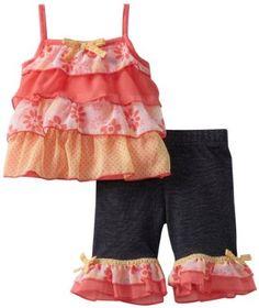 Little Lass Baby-Girls Infant 2 Piece Ruffle Skimmer Set, Coral, 12 Months Little Lass. $16.50